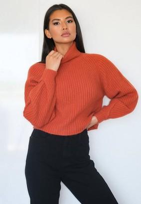 Missguided Petite Rust Rib Turtle Neck Tuck Sleeve Crop Sweater