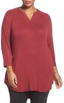 Melissa McCarthy Baby Rib Knit Split Neck Top (Plus SIze)