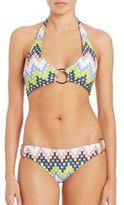 Milly Chevron Print Santorini Halter Bikini Top