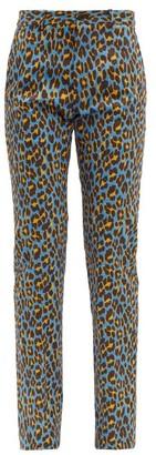 Connolly - Leopard-print Cotton-blend Trousers - Blue Multi