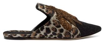 Sanayi 313 - Rango Jacquard And Velvet Backless Loafers - Black Multi