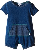 Splendid Littles Indigo Short Sleeve Romper with Striped Kangaroo Pocket (Infant)