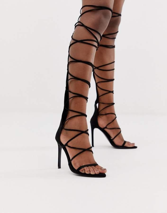 High Sandals Black Gladiator Design Harsh In Knee Heeled MLqSUVpzG