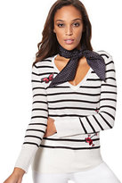 New York & Co. Waverly V-Neck Sweater - Stripe & Patches
