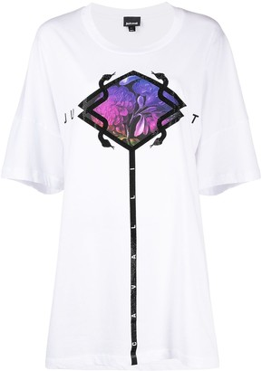 Just Cavalli embellished print oversized T-shirt