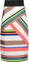 Milly Striped Crepe Midi Skirt