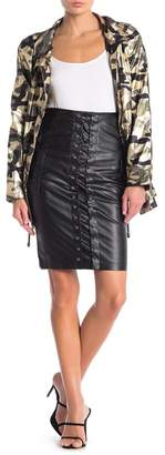 Jealous Tomato Lace-Up Faux Leather Knee-Length Skirt