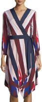 BCBGMAXAZRIA Long-Sleeve Asymmetric Wrap Dress