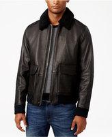Michael Kors Men's Leather Faux-Fur Collar Bomber Jacket