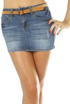 Hollywood Star Fashion Jean Denim Mini 5 Pocket Skirt With Braided Belt Juniors - , Size