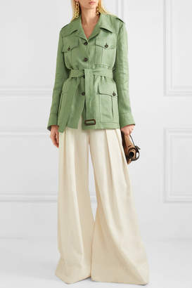 Giuliva Heritage Collection The Sahariana Belted Linen Jacket - Green