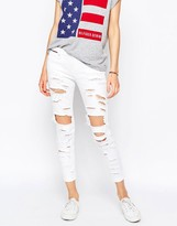 Tommy Hilfiger Naomi Mid Rise Slim Jeans With All Over Rips