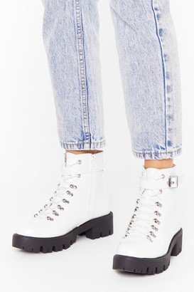 Nasty Gal Womens Too Big for Your Faux Leather Buckle Boots - White
