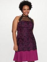 ELOQUII Plus Size Lace Yoke Halter Dress