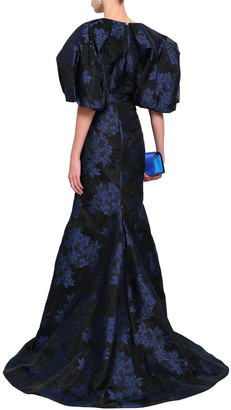 Zac Posen Fluted Floral-jacquard Gown