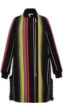 No.21 No. 21 Fur Trim Striped Coat