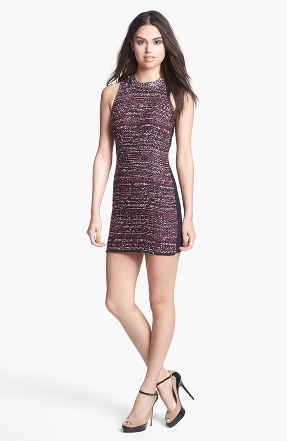 Madison Marcus Embellished Tweed & Ponte Knit Sheath Dress