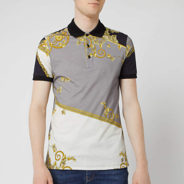Versace Men's All Over Print Polo Shirt