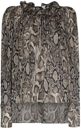 Magda Butrym Python Print Chiffon Blouse