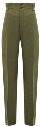 Connolly - High-rise Wool-blend Wide-leg Trousers - Womens - Khaki
