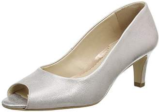 Van Dal Women's Norton Open-Toe Heels, Silver (Bamboo Metallic), 38 EU