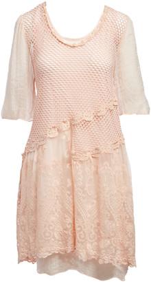 Pretty Angel Women's Casual Dresses PEACH(PH) - Peach Mesh & Lace Silk-Blend Shift Dress - Women
