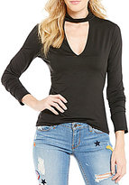 GUESS Adelia Long-Sleeve Choker Neck Knit Top