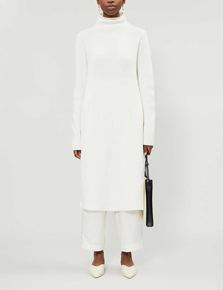 The Row Moa funnel-neck wool and cashmere-blend midi dress