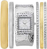 Vernier Silver & Gold Hammered Cuff Watch & Bangle Set