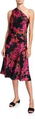 Josie Natori Delphine Floral One-Shoulder Dress