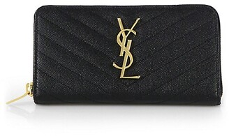 Saint Laurent Monogram Matelasse Leather Zip-Around Wallet