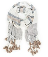 Sole Society Embellished Knit Scarf with Tassels