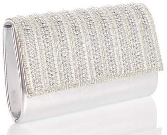 Quiz Silver Bead Diamante Bag