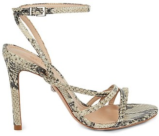Schutz Linne Snakeskin-Embossed Leather Ankle-Strap Sandals