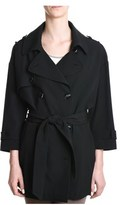 Eleventy Women's Black Wool Trench Coat.