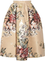 Fendi Metallic Floral-jacquard Midi Skirt - Cream