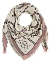 Pieces Tile Pattern Frayed Ends Square Scarf, Women's