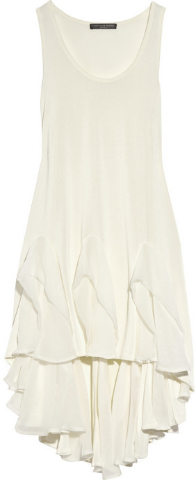 Alexander McQueen Ruffled silk-chiffon and jersey top