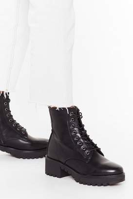 Nasty Gal Womens Cleated Arch Lace Up Pu Biker Boots - Black - 3