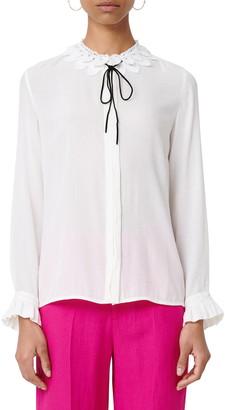 Maje Lace Collar Ruffle Cuff Shirt