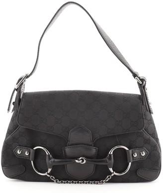 Gucci Horsebit Flap Shoulder Bag GG Canvas Medium