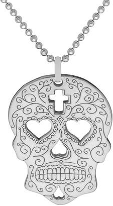 Cartergore Large Silver Sugar Skull Heart Eyes Pendant Necklace