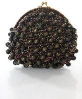 Felix Rey Brown Gold Metallic Beaded Small Clutch Handbag