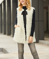 Suzanne Betro Women's Sweater Vests 101WINTER - Winter White Faux Fur Ribbon-Tie Vest - Women & Plus