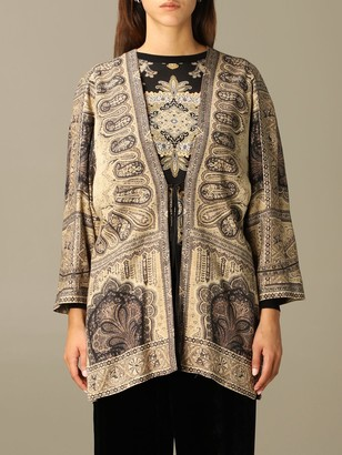 Etro Blazer Kimono Jacket In Wool With Cashmere Print