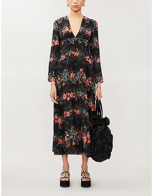 RED Valentino Floral-print silk midi dress