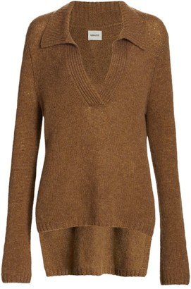 KHAITE Cass Cashmere High-Low Collared Sweater