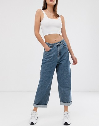 Asos Design DESIGN oversized carpenter boyfriend jeans in mid wash blue