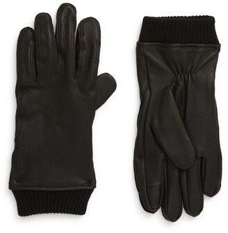 Polo Ralph Lauren Iconic Ribbed Cuff Touchscreen Leather Gloves