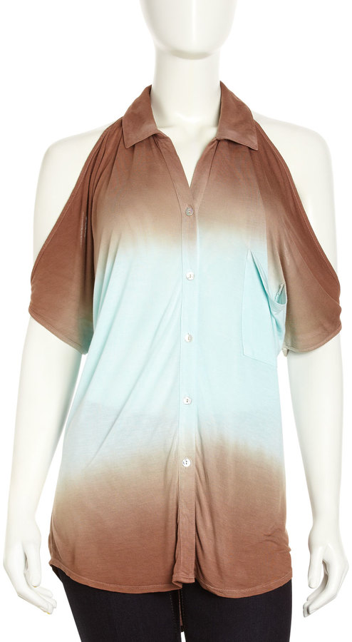 Young Fabulous & Broke Young Fabulous and Broke Ombre Cold-Shoulder Top, Coffee/Light Blue